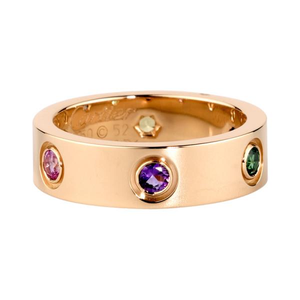 Кольцо Cartier Love, розовое золото, драг. камни