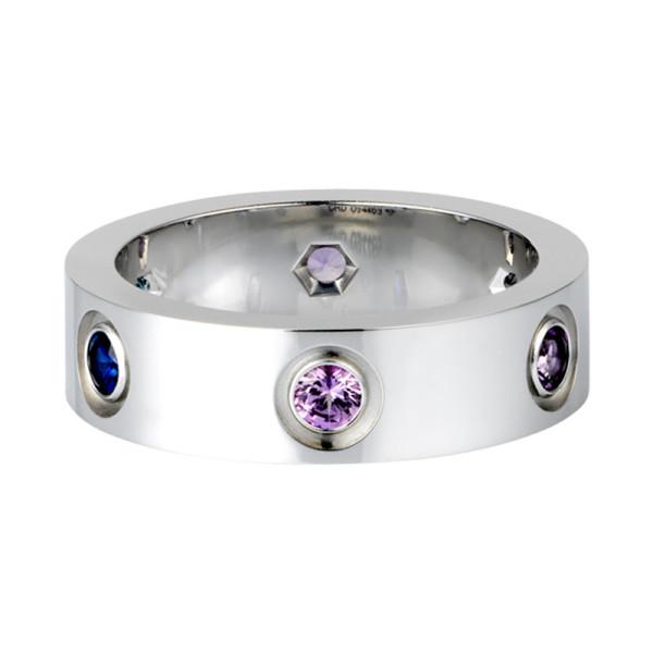 Кольцо Cartier Love, белое золото, драг. камни