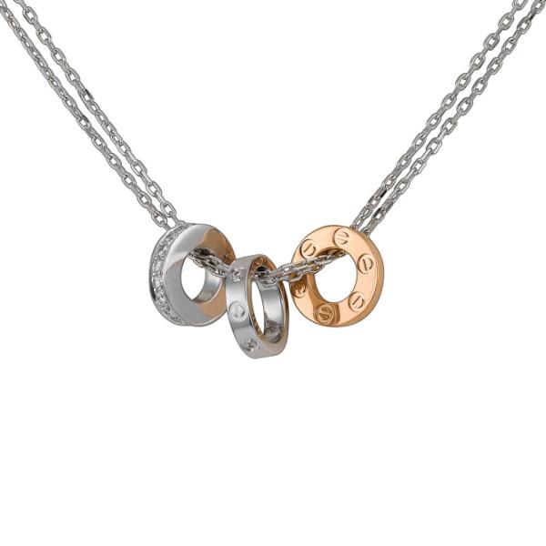 Колье Cartier Love, белое, розовое золото, бриллианты