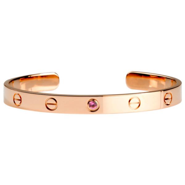 Браслет Cartier Love, розовое золото, сапфир