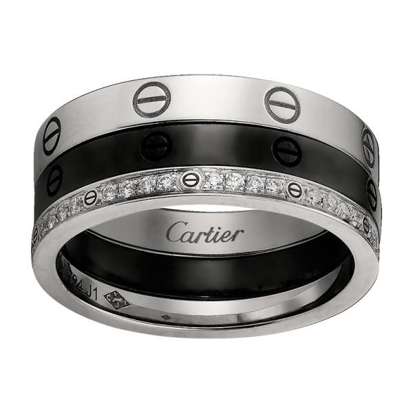 Кольцо Cartier Love, белое золото, керамика, бриллианты