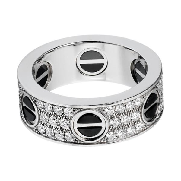 Кольцо Cartier Love, белое золото, бриллианты, керамика