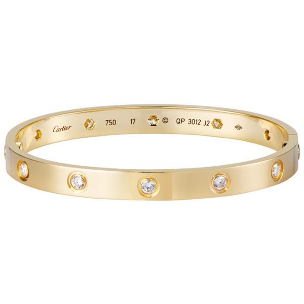 Браслет Cartier Love, желтое золото, бриллианты