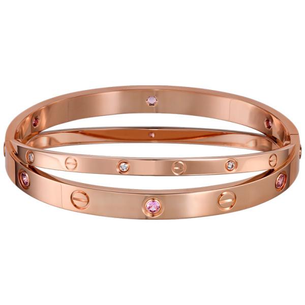 Браслет Cartier Love, розовое золото, бриллианты, сапфиры