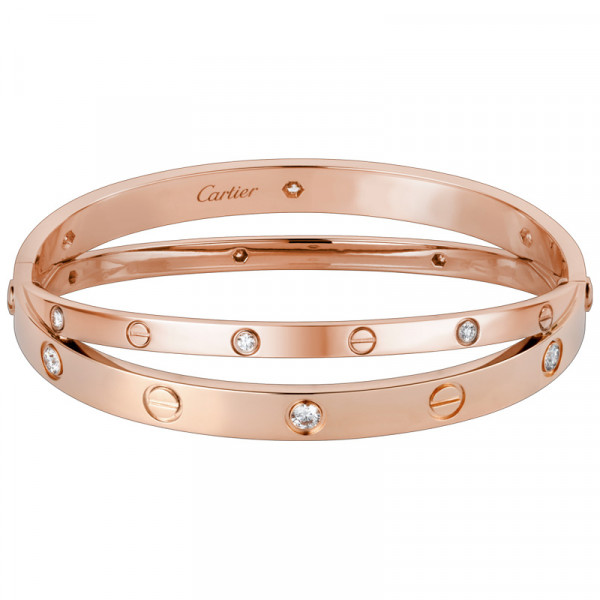 Браслет Cartier Love, розовое золото, бриллианты