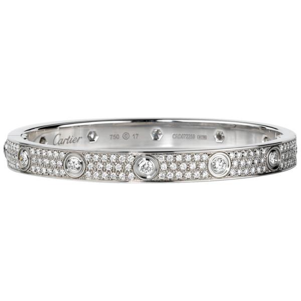 Браслет Cartier Love, белое золото, бриллианты