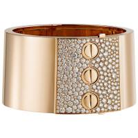 Браслет-манжета Cartier Love, розовое золото, бриллианты