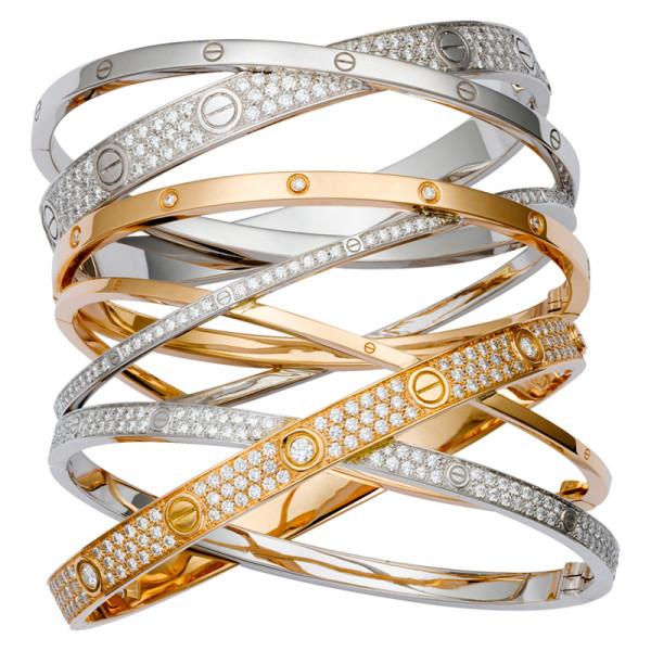 Браслет Cartier Love, розовое, белое золото, бриллианты