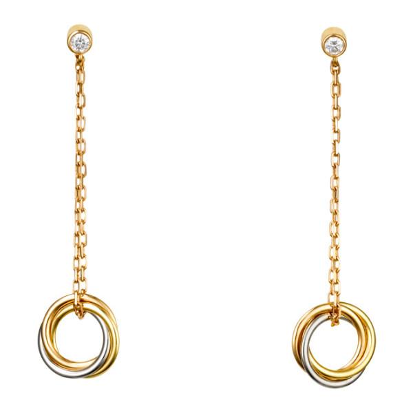 Серьги Cartier Trinity, золото трех цветов, бриллианты