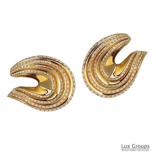 Серьги de Grisogono Folded 4 Band Diamond, розовое золото, бриллианты
