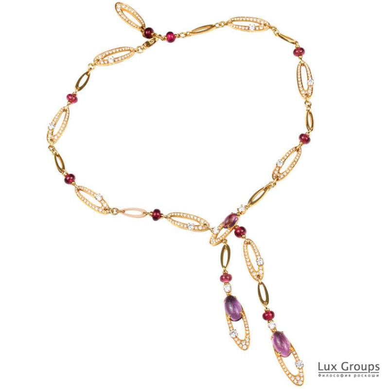 Колье Bvlgari Elisia, желтое золото, бриллианты, аметисты, турмалины