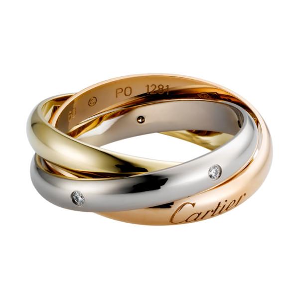 Кольцо Cartier Trinity, золото трех цветов, бриллианты