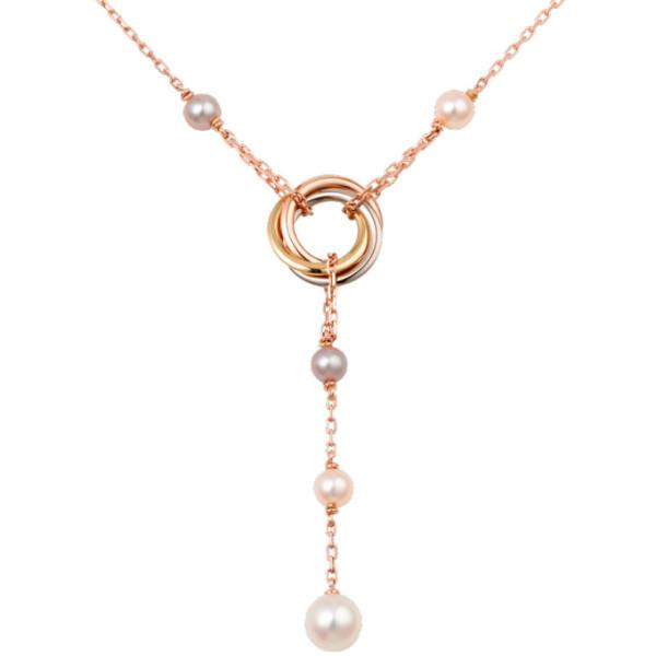 Колье Cartier Trinity, золото трех цветов, жемчуг