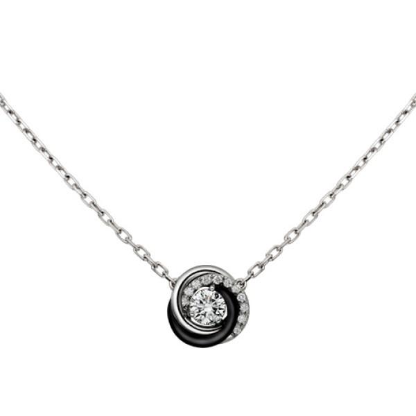 Колье Cartier Trinity, белое золото, керамика, бриллианты