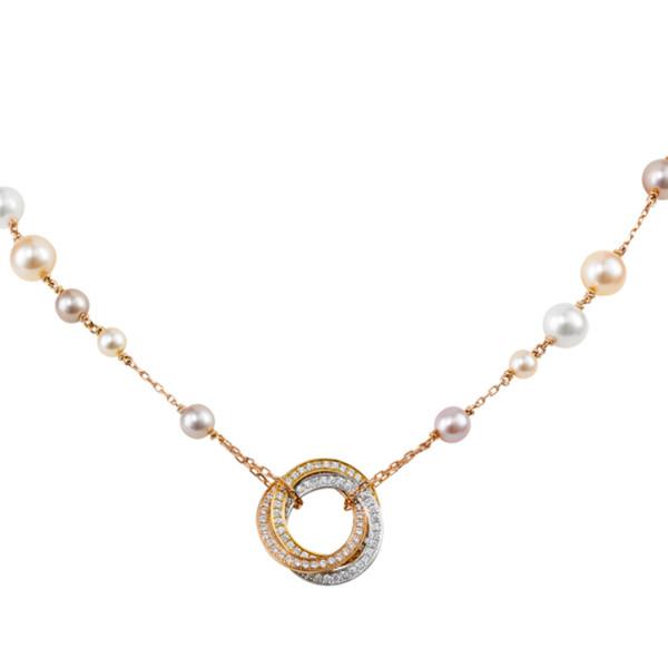 Колье Cartier Trinity, золото трех цветов, бриллианты, жемчуг