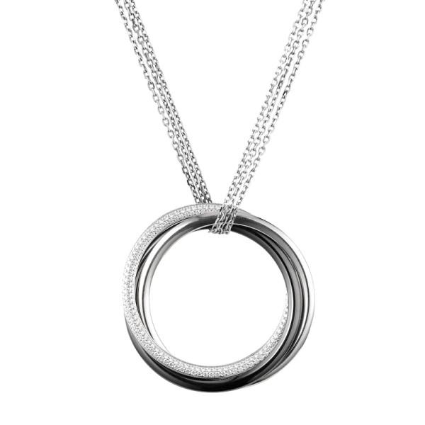 Подвеска Cartier Trinity, белое золото, керамика, бриллианты