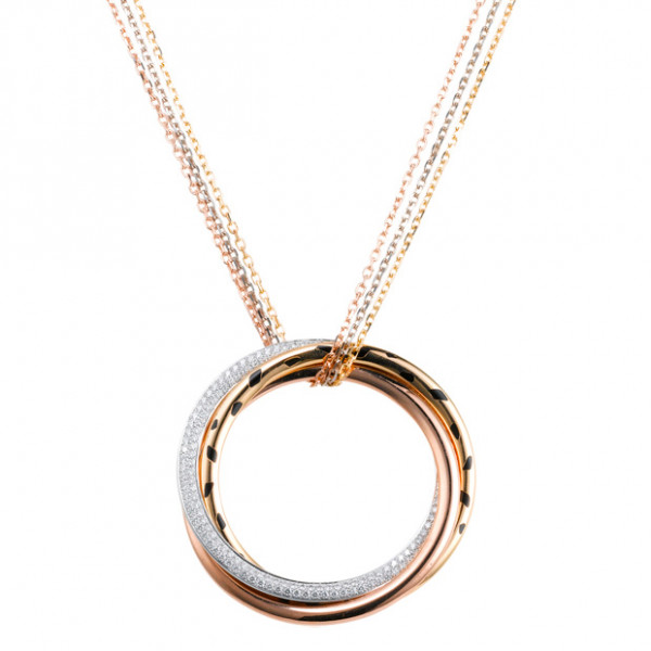 Подвеска Cartier Trinity, золото трех цветов, бриллианты