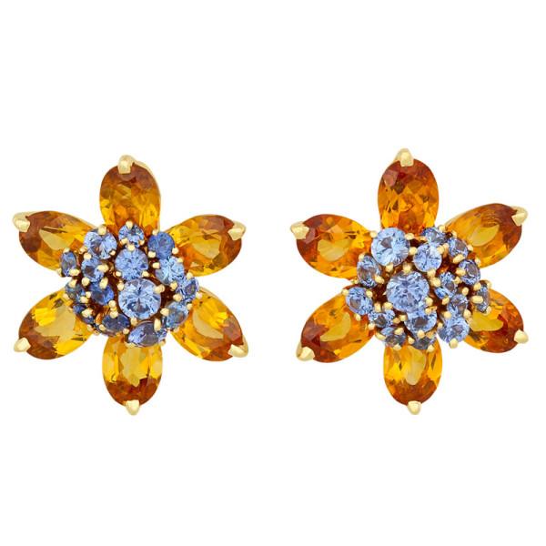 Серьги Van Cleef & Arpels Hawaii, желтое золото, сапфиры, цитрины