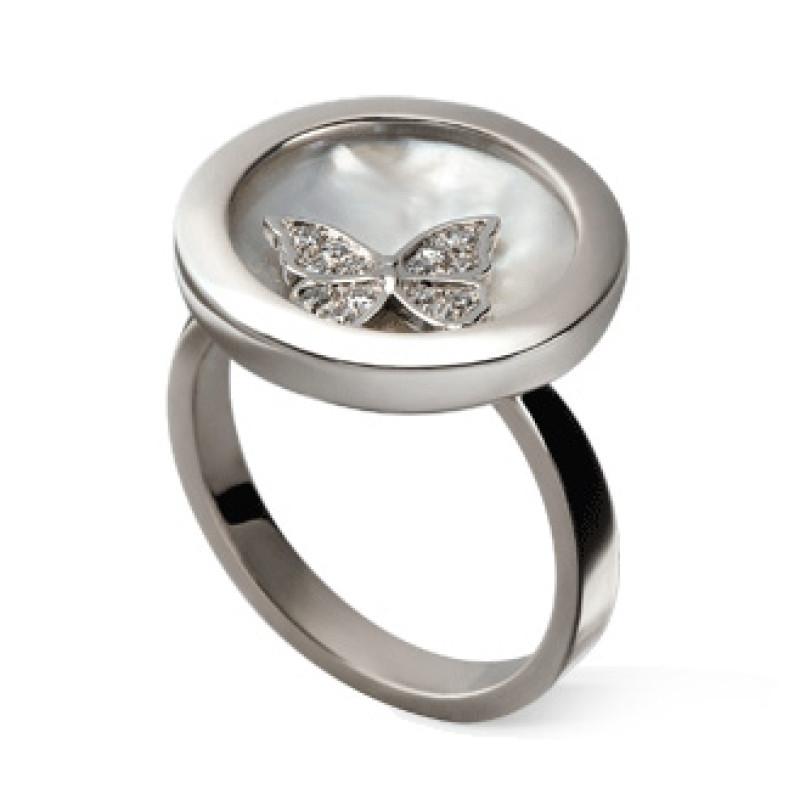 Кольцо Carrera y Carrera Baile de Mariposas Twist, белое золото, перламутр, бриллианты