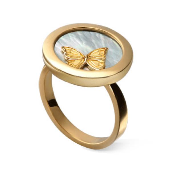 Кольцо Carrera y Carrera Baile de Mariposas Twist, желтое золото, перламутр