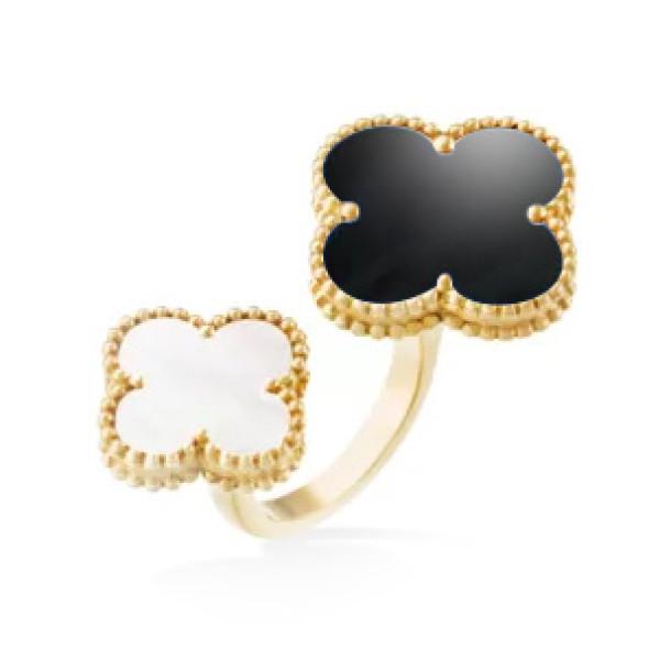 Кольцо Van Cleef & Arpels Alhambra, желтое золото, оникс, перламутр