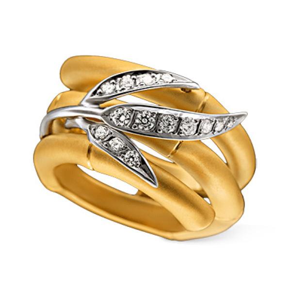 Кольцо Carrera y Carrera Bambu Maxi, желтое, белое золото, бриллианты