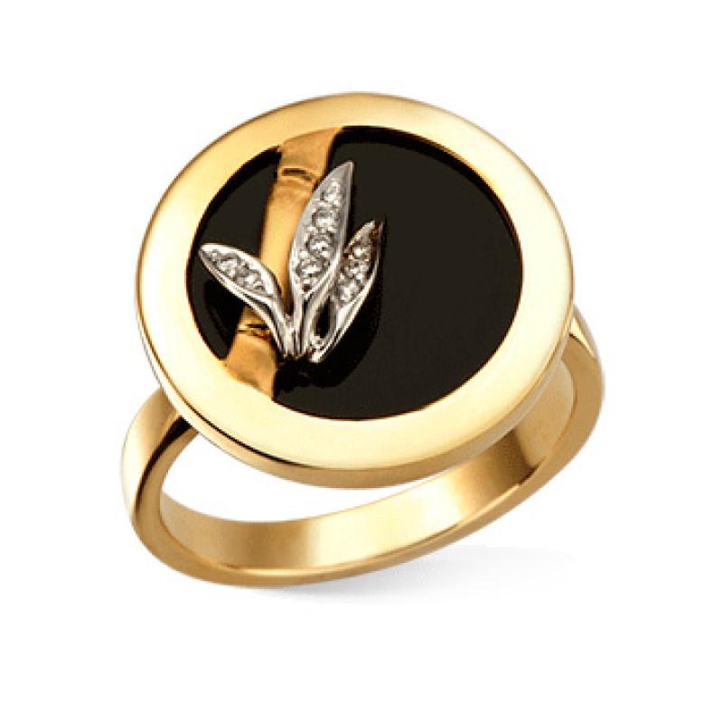 Кольцо Carrera y Carrera Baile de Bambu, белое, желтое золото, бриллианты, оникс