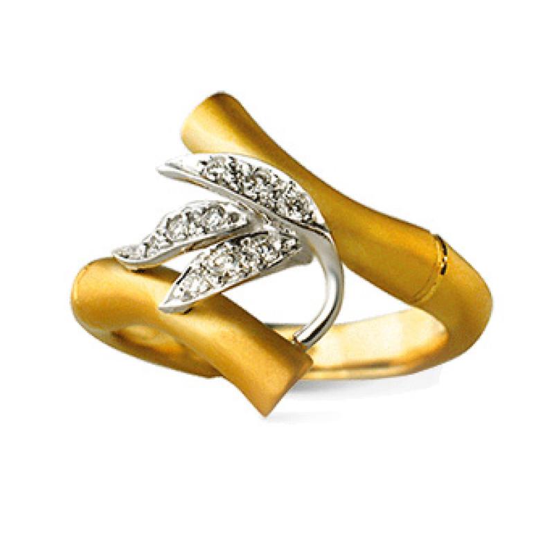 Кольцо Carrera y Carrera Bambu Zen Medium, белое, желтое золото, бриллианты