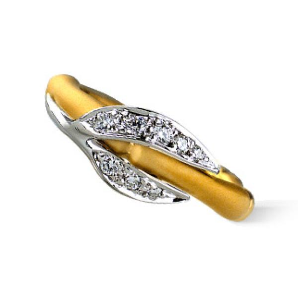 Кольцо Carrera y Carrera Bambu Zen Mini, белое, желтое золото, бриллианты