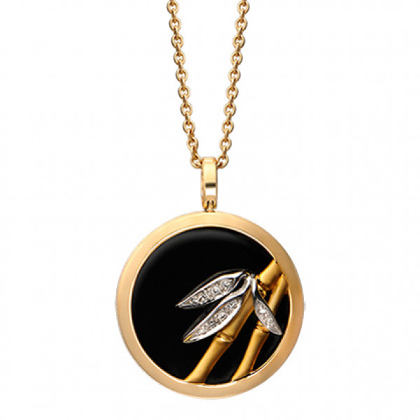 Подвеска Carrera y Carrera Baile de Bambu, белое, желтое золото, бриллианты, оникс