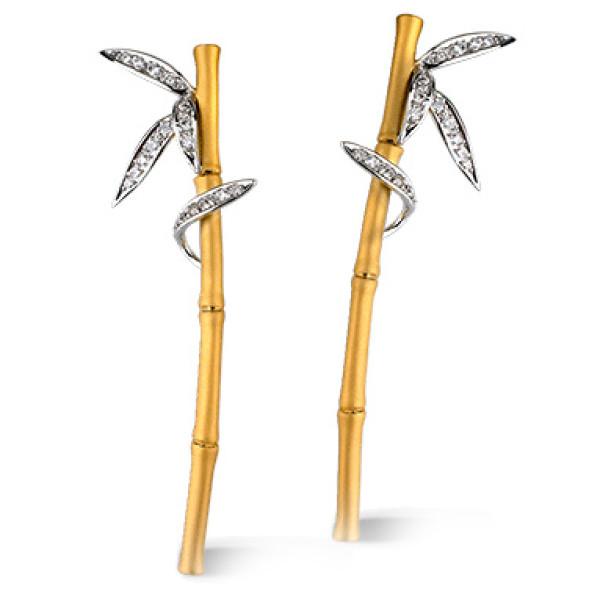 Серьги Carrera y Carrera Bambu Zen, белое, желтое золото, бриллианты