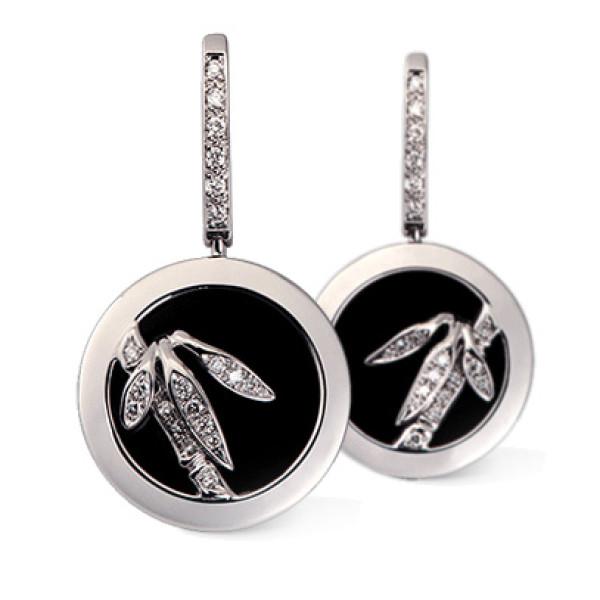 Серьги Carrera y Carrera Bambu, белое золото, бриллианты, оникс
