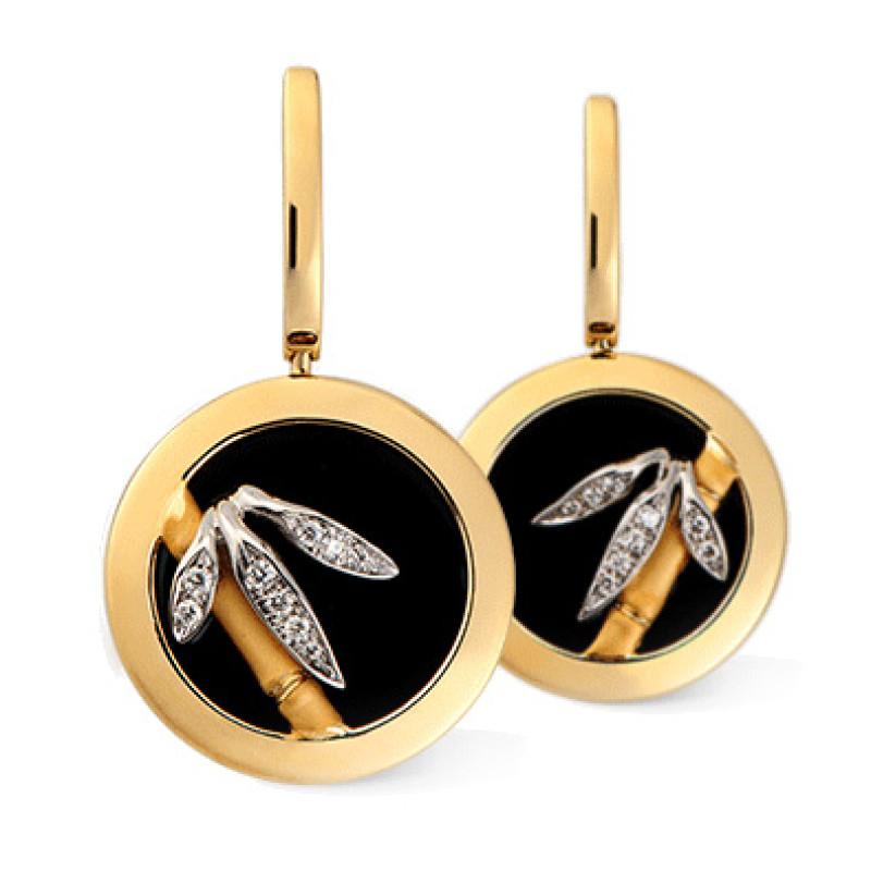 Серьги Carrera y Carrera Baile de Bambu, белое, желтое золото, бриллианты, оникс
