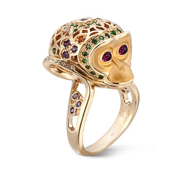 Кольцо Carrera y Carrera Bestiario Mono, желтое золото, бриллианты, драг. камни