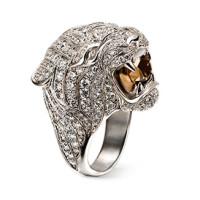 Кольцо Carrera y Carrera Bestiario Tiger, белое золото, бриллианты, кварц
