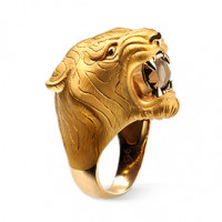 Кольцо Carrera y Carrera Bestiario Tiger, желтое золото, кварц