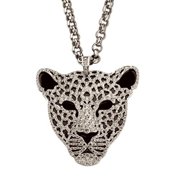 Колье Carrera y Carrera Bestiario Leopardo Medium, белое золото, серебро, бриллианты