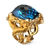 Кольцо Carrera y Carrera Circulos de Fuego Nankin, желтое золото, топаз, бриллианты