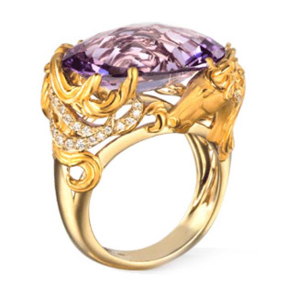 Кольцо Carrera y Carrera Ecuestre, желтое золото, бриллианты, аметист