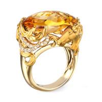 Кольцо Carrera y Carrera Ecuestre, желтое золото, бриллианты, цитрин