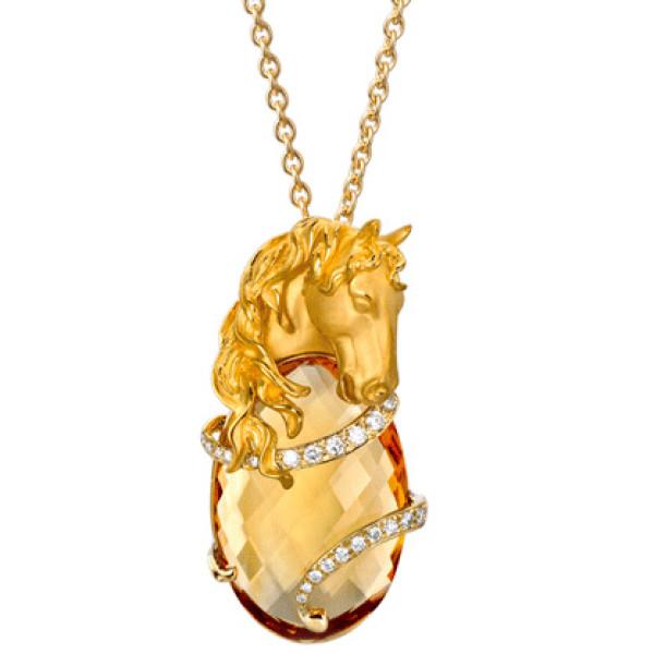 Подвеска Carrera y Carrera Ecuestre Caballo, желтое золото, бриллианты, цитрин