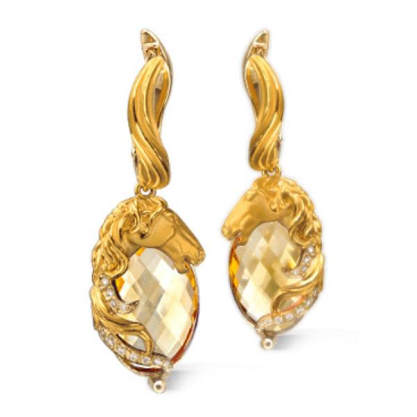 Серьги Carrera y Carrera Ecuestre Caballo, желтое золото, бриллианты, цитрины