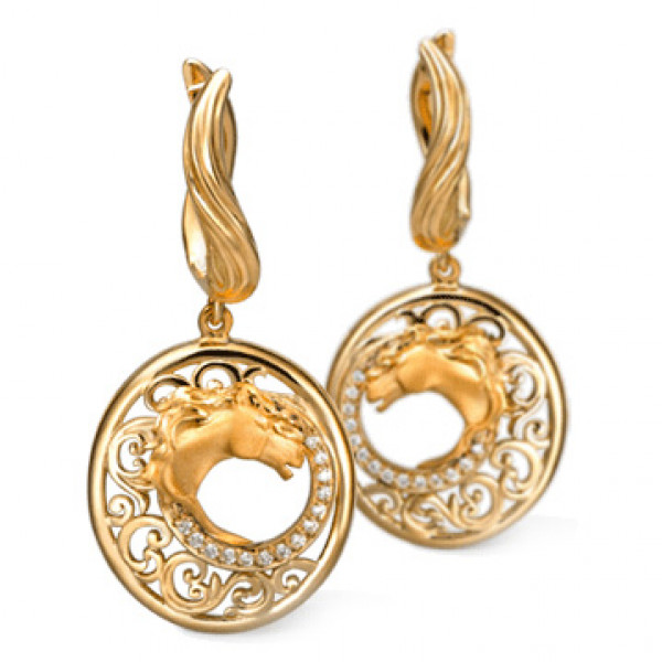 Серьги Carrera y Carrera Ecuestre Caballo, желтое золото, бриллианты
