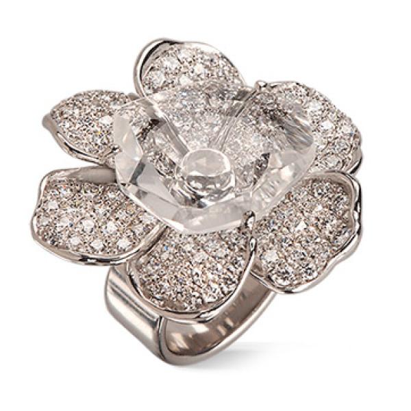 Кольцо Carrera y Carrera Gardenias, белое золото, бриллианты, хрусталь