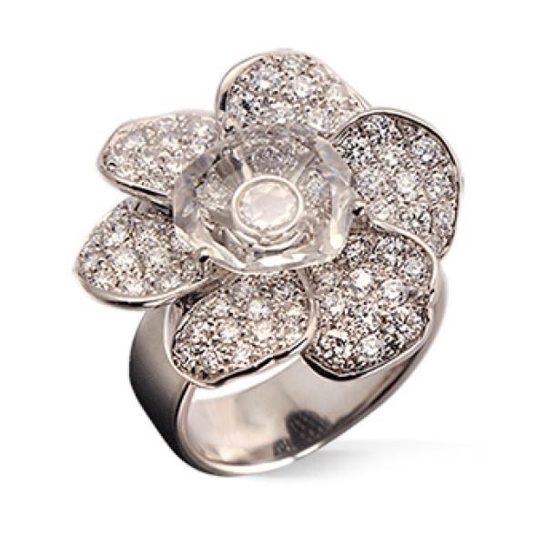 Кольцо Carrera y Carrera Gardenias Medium, белое золото, бриллианты, хрусталь