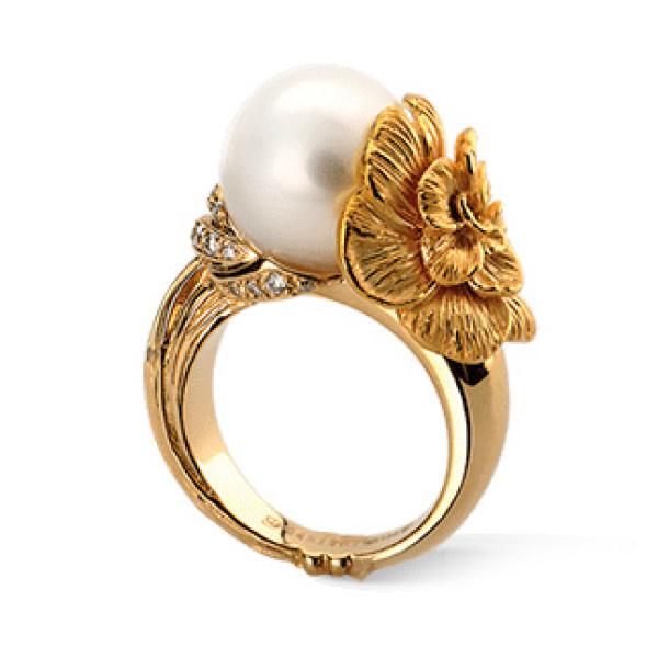 Кольцо Carrera y Carrera Gardenias, желтое золото, бриллианты, жемчуг