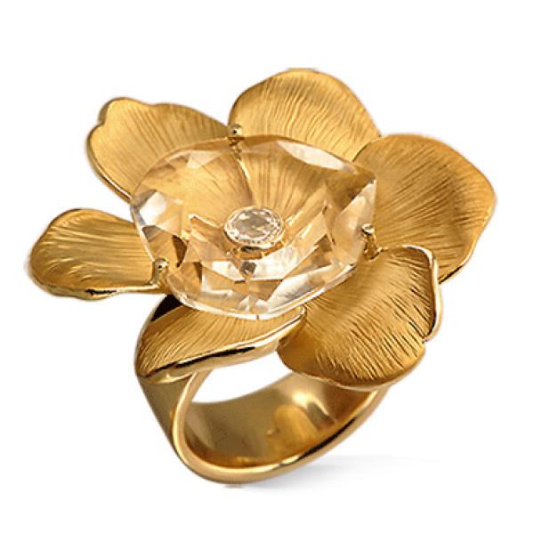 Кольцо Carrera y Carrera Gardenias Maxi, желтое золото, бриллиант, хрусталь