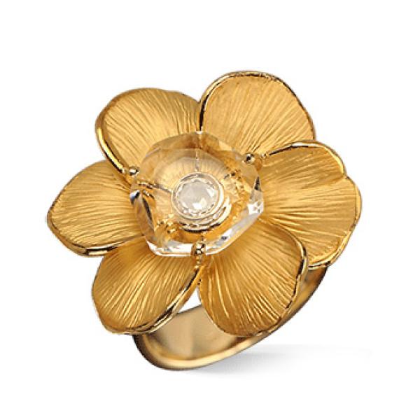 Кольцо Carrera y Carrera Gardenias Medium, желтое золото, бриллиант, хрусталь