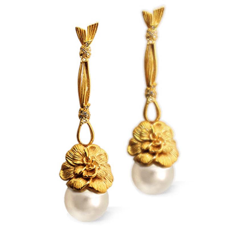 Серьги Carrera y Carrera Gardenias, желтое золото, бриллианты, жемчуг