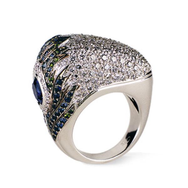 Кольцо Carrera y Carrera Peacock, белое золото, бриллианты, драг. камни